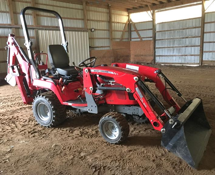 "Complete Package:  2015 Massey-Ferguson GC1710 Diesel Tractor with only 212 Hours!  22 HP, 4x4.  Comes with:  CB 65 Backhoe; DL 95 Loader, 750 lb. Lift; 60"" Mower Deck, Very Powerful and Smooth, 2000 RPM; 48"" King Kutter Rototiller, 540 PTO, Used Three Times; John Deere 71 Single Row Planter, Corn and Soy Plates, Refurbished; Multi-Hitch, Has Bale Spear Mount; 1-16"" Bottom Moldboard Plow; Baltimatic 540 PTO Spreader, Some R..."