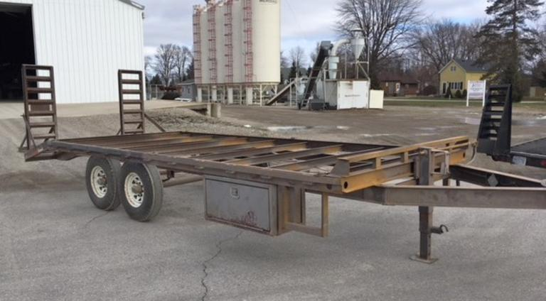 "2009 Suretrac Deck Over Trailer, 102"" Wide x 20' Long with 17' Deck and 3' Beavertail, (2000 Miles on Tires), 14K GVW, Recently Sandblasted.  Tool Box, Lights and Wiring Included.  Needs Deck Rewired and Painted.  Clean and Clear Title, CN1055"