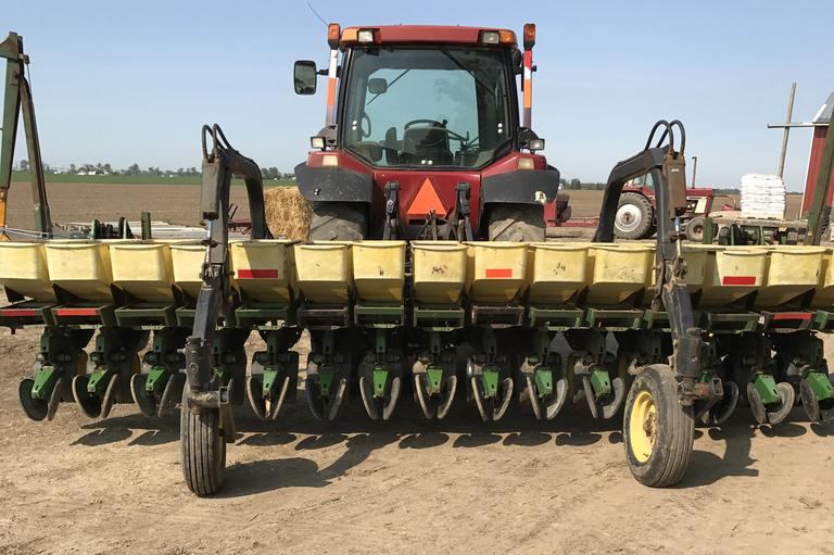 "John Deere 7100 Planter, 15-15"" Row, Comes with (2)-Monitors.  Many New Parts Including:  Tires, Bearings, Gauge & Press Wheels, Arms, Tarp for Hoppers, Seed Disk, Kinze Brush Meters, and Covers!  Excellent Condition, CN1001"
