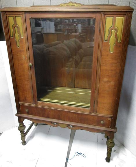 Wooden Display China Cabinet with Glass Door