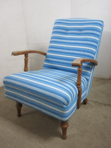 Blue Fabric Chair with Wooden Arms