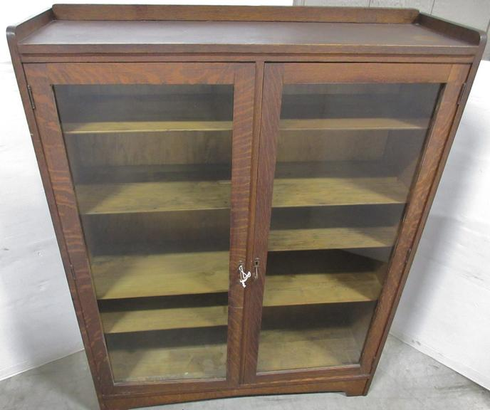 Antique Curio Cabinet with Locking Doors and Key, Has Original Glass and Shelf Supports, Shelves are Adjustable