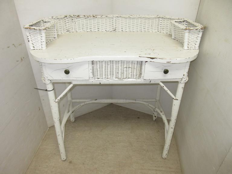 Antique Wicker and Wood Vanity/Desk with Two Drawers, Knobs Appear to be Original, Has Two Big Storage Pockets on the Top