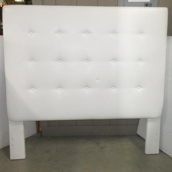 All White Leather Tufted Full/Queen Sized Bedroom Headboard