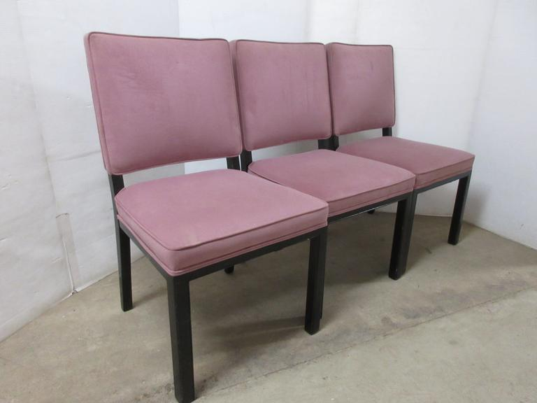 (3) Older Mauve Colored Cloth Chairs