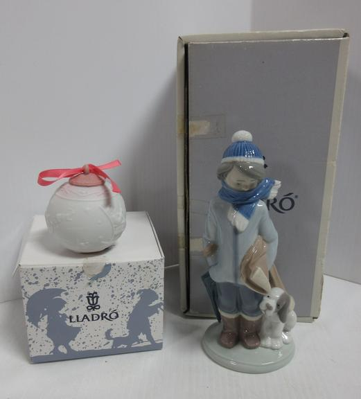 "Retired Lladro Figure, ""Winter"", No. 05220, Mint in Box; Christmas Ornament, ""Santa's Journey"", No. 16265, Never Used"