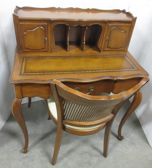 Older Maple Ladies Writing Desk with Leather Insert and Matching Chair, Circa 1970s