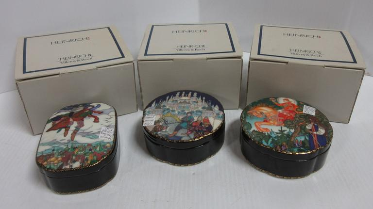 (3) Heinrich Porcelain Boxes from the Russian Fairytale Series, Based on Original Art by Boris Zvorykin
