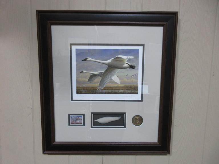 Ducks Unlimited Swans Print, Signed and Numbered, 7971/10,500, Includes Coin and Stamp from June 30, 2017 in Frame