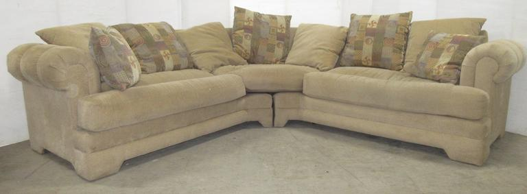 Two-Piece Beige Sectional Couch