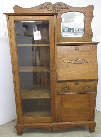 Oak Drop Leaf Front Secretary with Glass Door, Mirror, Desk Side Inset Drawer, and Bottom Door, Keys in Office
