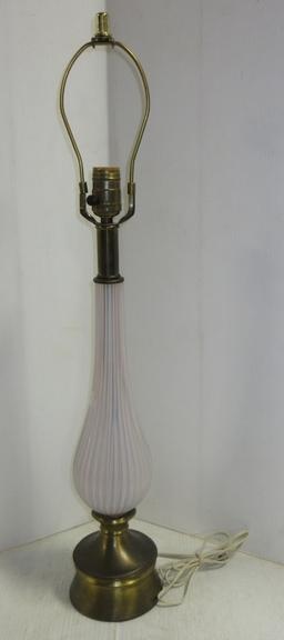 Older Mid-Century Modern Murano Glass Lamp, Opalescent and Brass Base