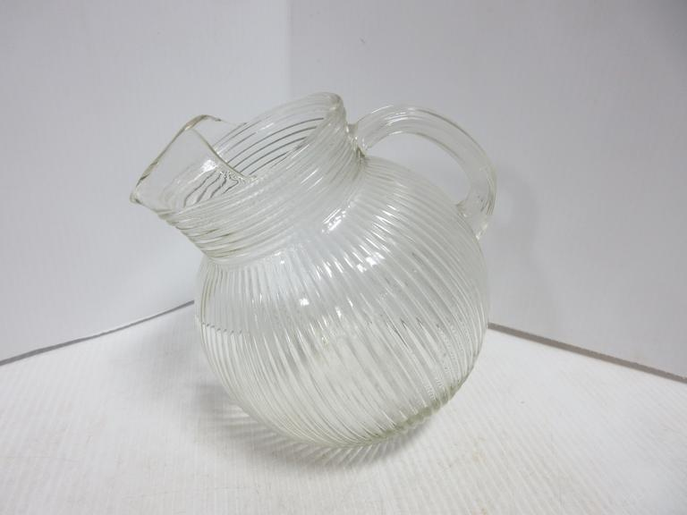 Mid-Century Tilted Ribbed Glass Pitcher with Ice Lip