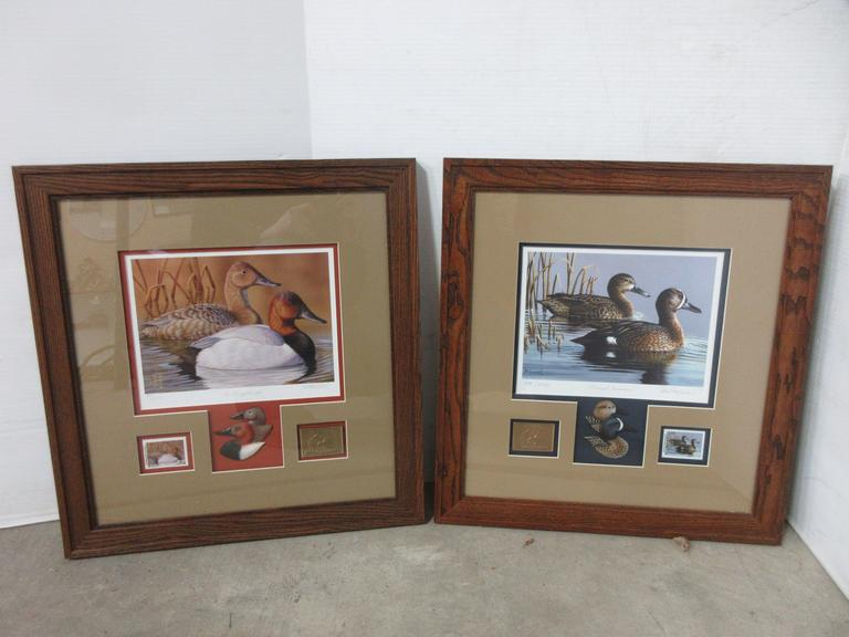 "(2) Ducks Unlimited Prints with Stamps in Frame, Both Signed and Numbered, Include: ""The Royal Couple"" 2015 Stamp and ""Tranquil Swimmers"" 2017 Stamp"