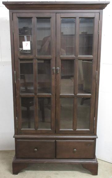Dark Wood China Cabinet with Two Bottom Drawers