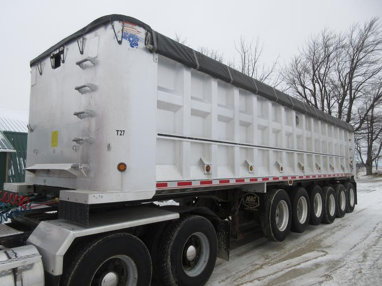 "2000 MAC 36' Aluminum Dump Trailer, 102"" Wide, 6-Axle (3-Down), 120"" Liner, Dual Line, Grain Door, 24.5 Tires, LED Lights, Shur-Lok Tarp"