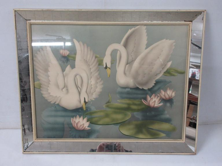 Swan Painting in Mirror, Bordered Frame