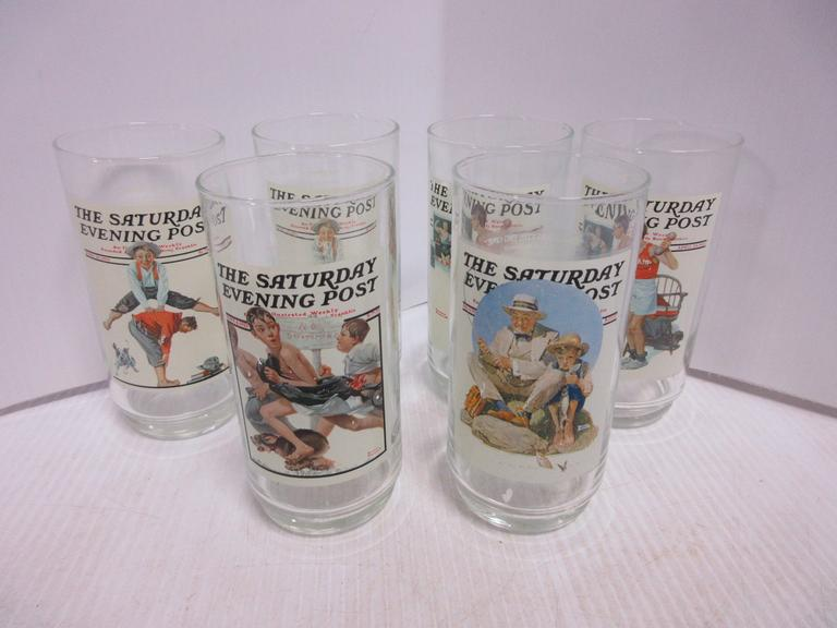 (6) Norman Rockwell Tumblers, Believed to be Rare, Four Different Designs