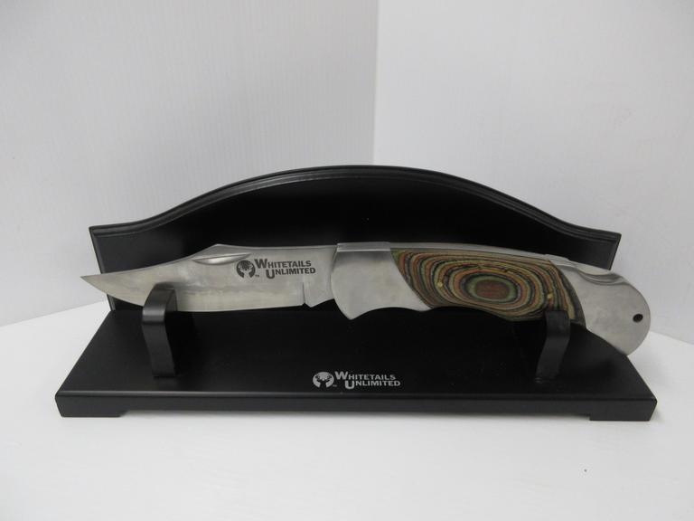 Whitetail Unlimited Knife with Multi-Colored Wood Grain Handle, and Black Wood Holder