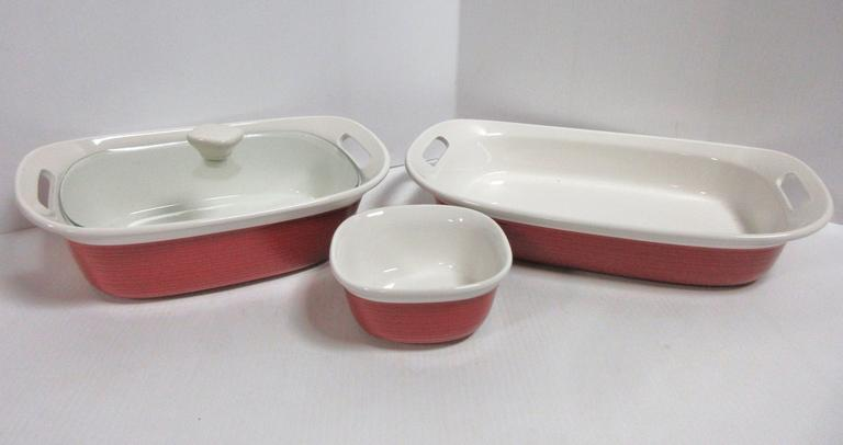 (3) Red Ceramic Baking Dishes: 1- with Lid
