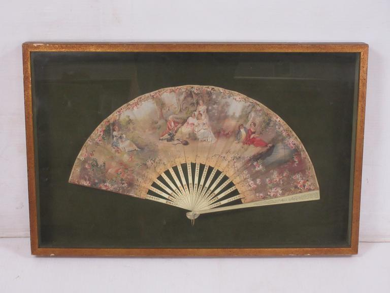 Antique Victorian Folding Hand Fan Mounted in Shadow Box, Diorama Style