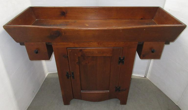 Antique Pine Dry Sink with Two Drawers and a Door