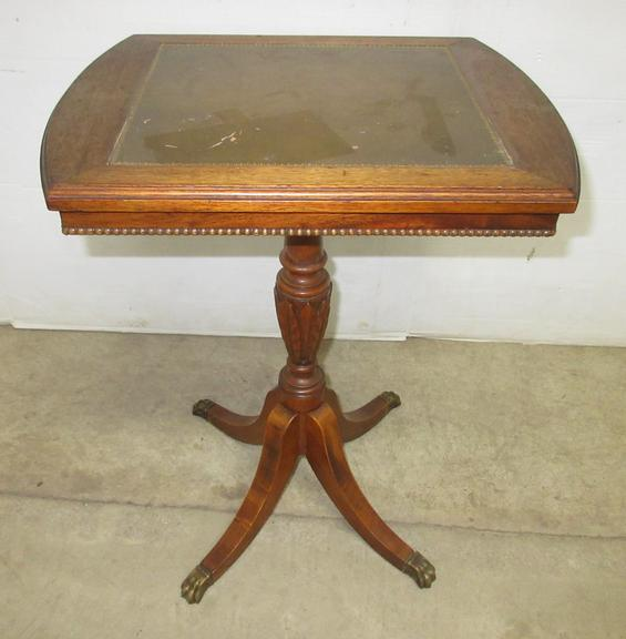 Small Table with Claw Feet and Leather Top