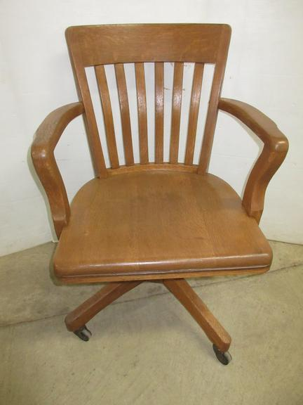 Solid Oak Sphinx Chair, Goes Up and Down, and Backward and Forward, Number Plate is CF62821