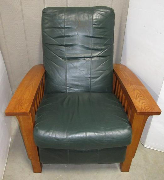Leather Recliner Chair with Oak Frame