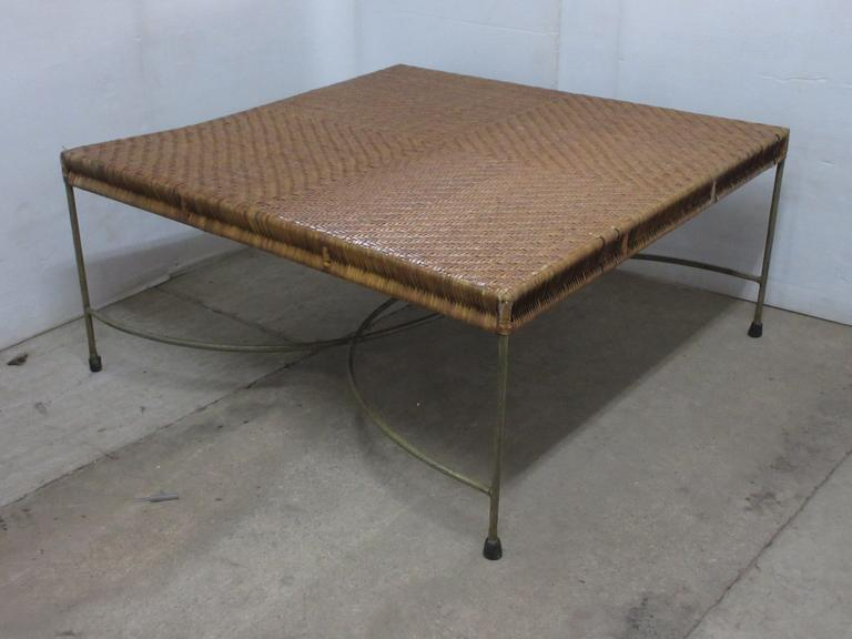Older Metal and Wicker Coffee Table