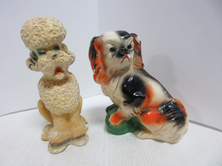"(2) Older Chalkware Carnival Prize Dogs: 1- ""Saginaw Fair, Sept. 15, 1948"" Marked on Bottom"