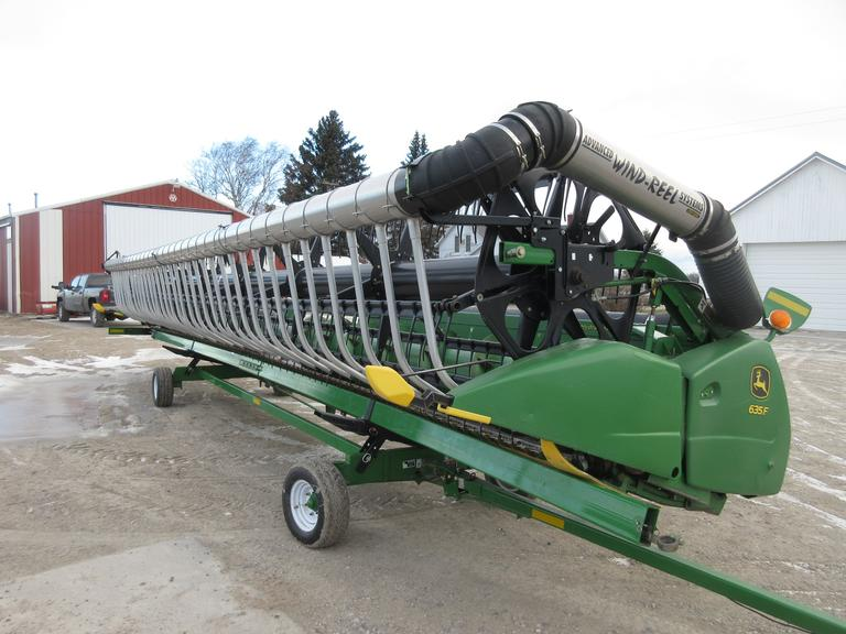 2008 John Deere 635F Flex Header with AWS, New Sections in 2018, New Guards in 2017, Auger Trough Poly Kit.  Note:  Header cart is not included.  It is selling seperately.