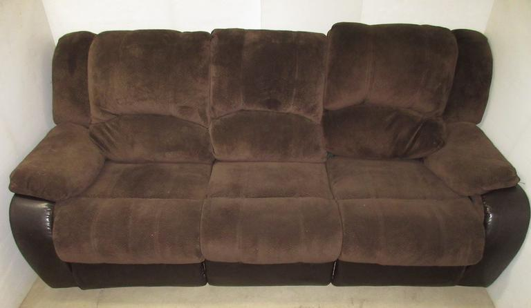 Brown Fabric Couch with (2) Recliners