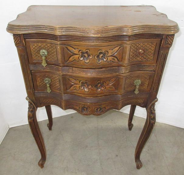 Early Century Carved Wood Two-Drawer Nightstand, Matches Lot No. 40