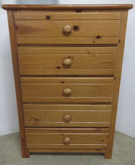 Tall Five-Drawer Light Oak/Pine Dresser with Newspaper Print Drawers