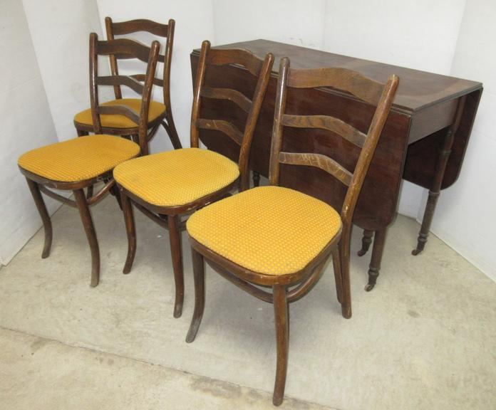 Antique Drop Leaf Table with (4) Chairs