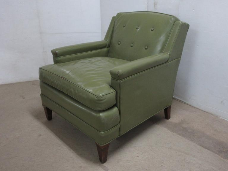 Mid Century Modern Green Leather Chair