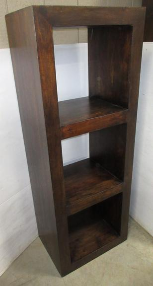 Dark Wood Three-Shelf Cube Organizer, Well Made