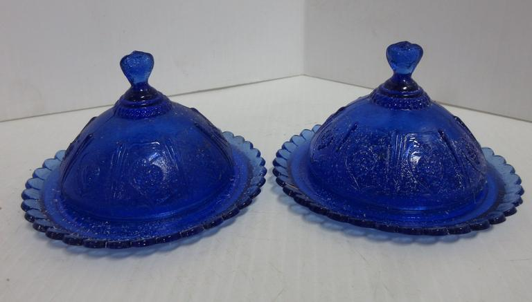 (2) Blue Butter Dishes