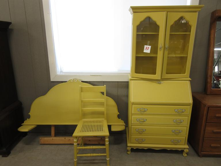 Thomasville Secretary with Glass Door Display Top, Matching Chair and Twin Headboard