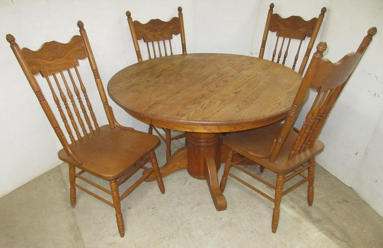 Five-Piece Dining Room Table and Chairs, All Wood