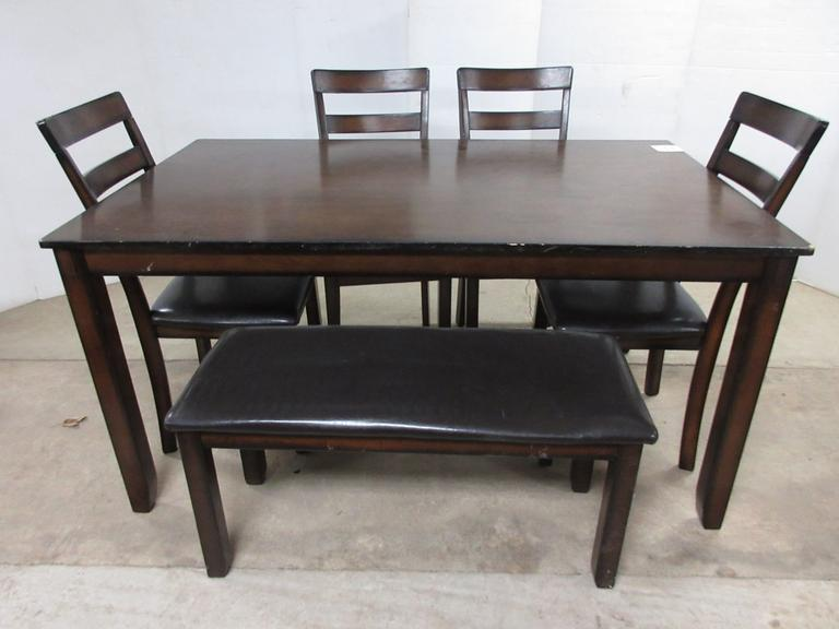 Wood Grain Dining Table with (4) Chairs and Bench Seat