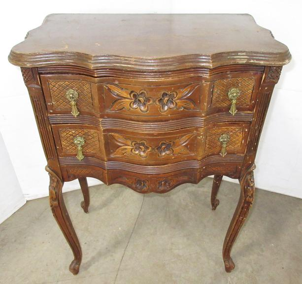 Early Century Carved Wood Two-Drawer Nightstand, Matches Lot No. 41