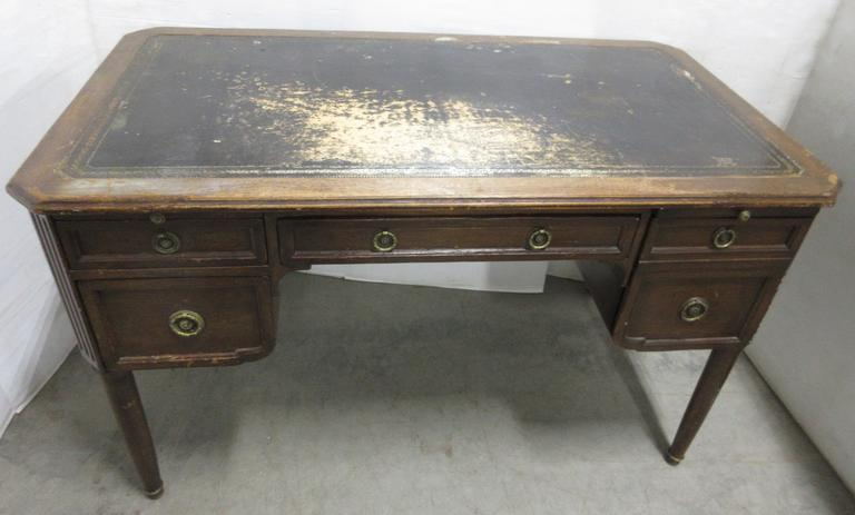 Old Leather Top Writing Desk