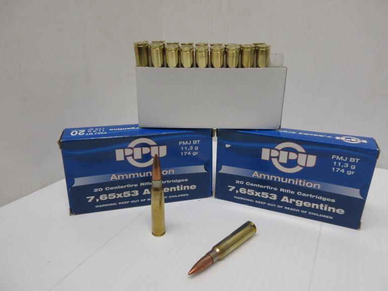 (40) Rounds of PPU 7,65 x 53 Argentine 174-Grain FMJ