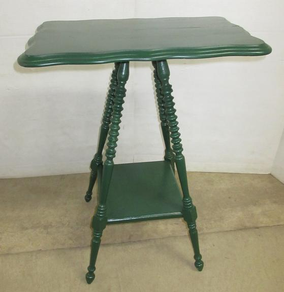 Green Victorian Table with Turned Legs and Beveled Edge