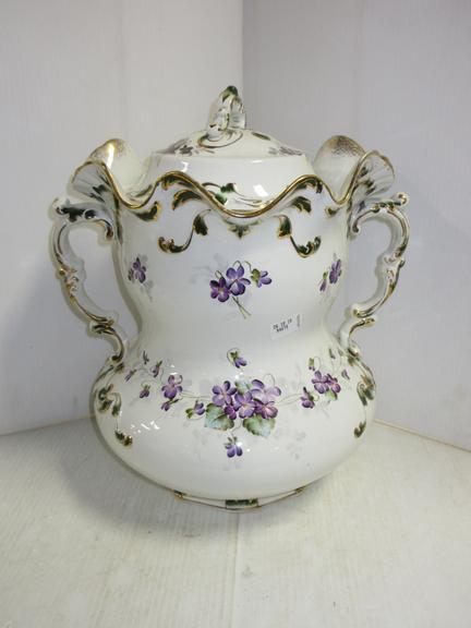 Antique Victorian Porcelain Master Chamber Pot, Hand Painted Floral Violets and Gold Trim