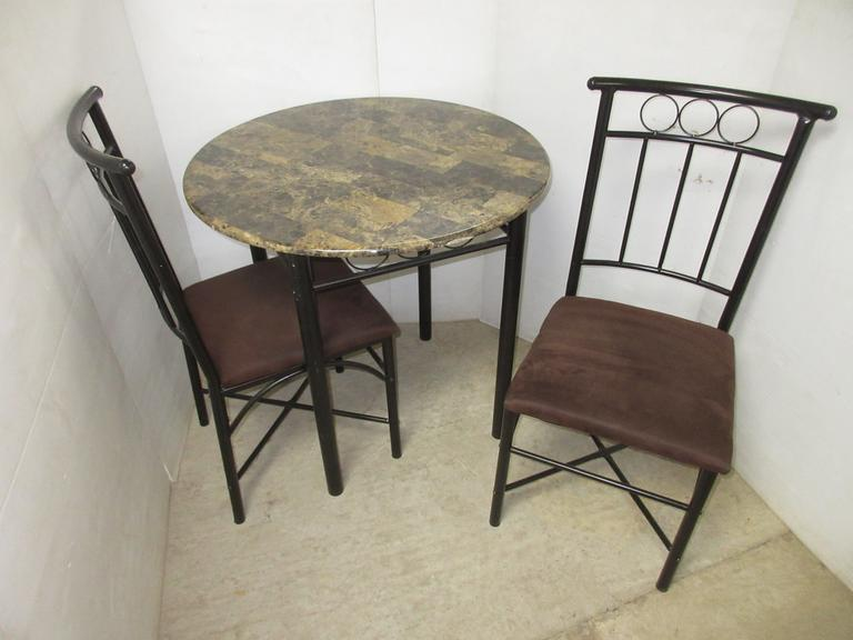 Small Bistro Style Granite Like Top Dining Table with (2) Chairs