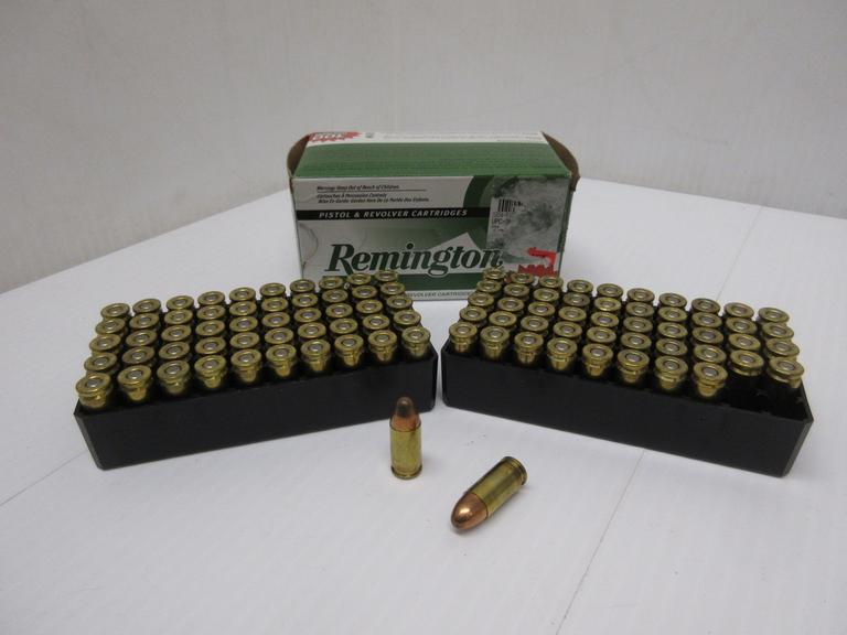 Albrecht Auctions | (100) Rounds of Remington 9mm Luger 115-Grain MC