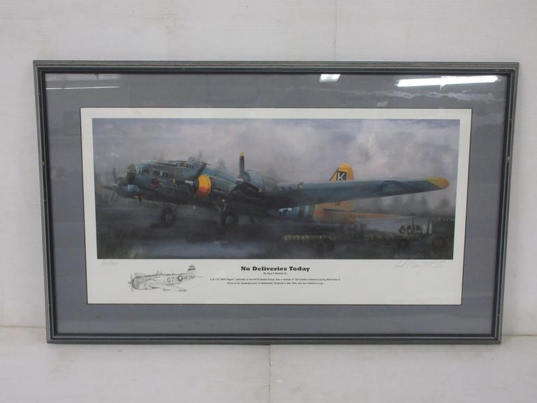 "Framed Print of Airplane, Titled ""No Deliveries Today"" by Paul F. Wentzel Sr., Artist Signed, Low Production No., Seller States Artist Recently Passed"